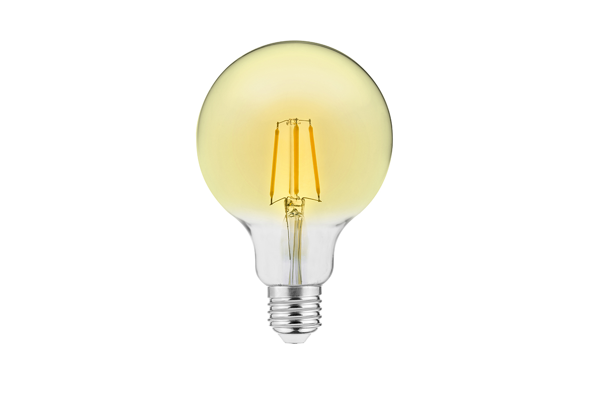 Bec LED decorativ FILAMENT VINTAGE, G125, E27, 4W, 400lm, 3000K