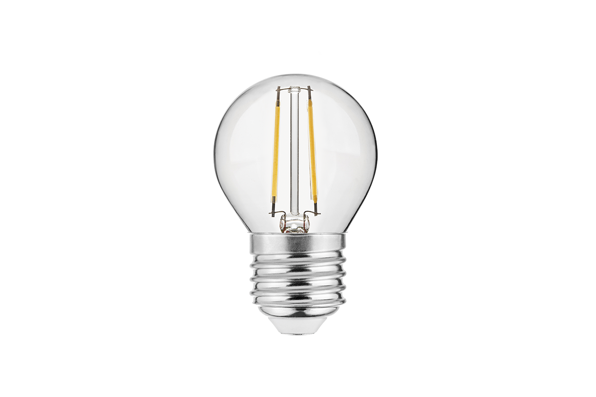 Bec LED FILAMENT, G45, 3000K, E27, 2W